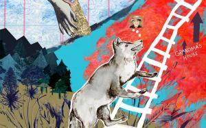 Wolf climbs ladder